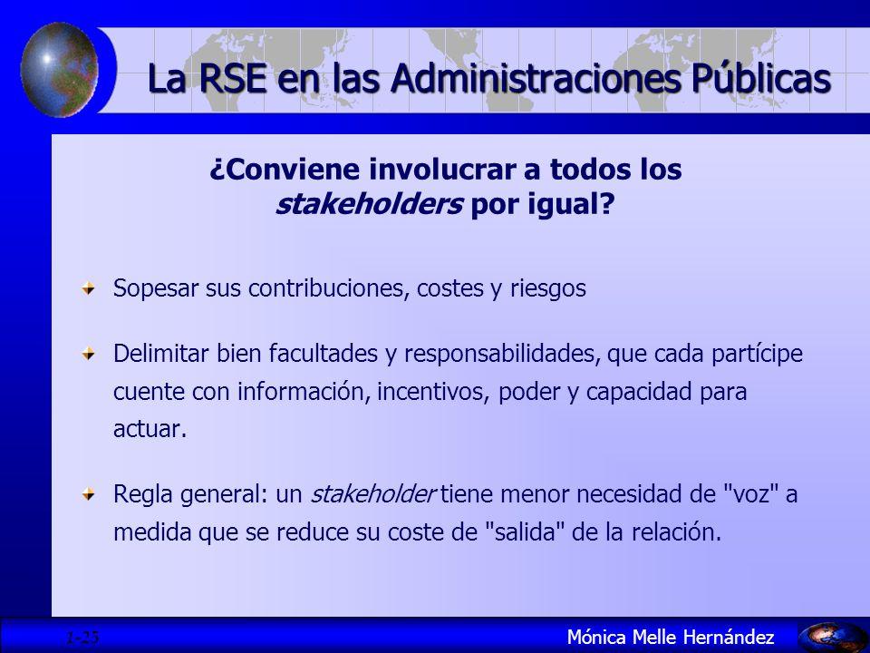 1- 25 ¿Conviene involucrar a todos los stakeholders por igual? Sopesar sus contribuciones, costes y riesgos Delimitar bien facultades y responsabilida
