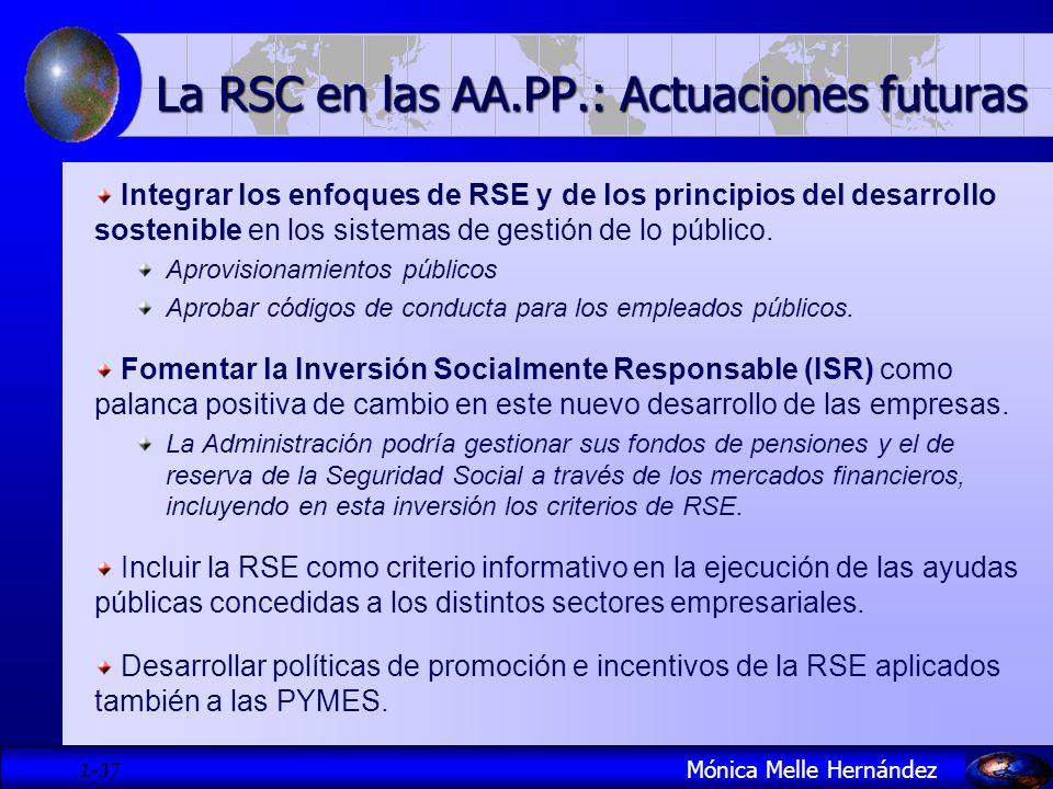 1- 37 La RSC en las AA.PP.: Actuaciones futuras Integrar los enfoques de RSE y de los principios del desarrollo sostenible en los sistemas de gestión