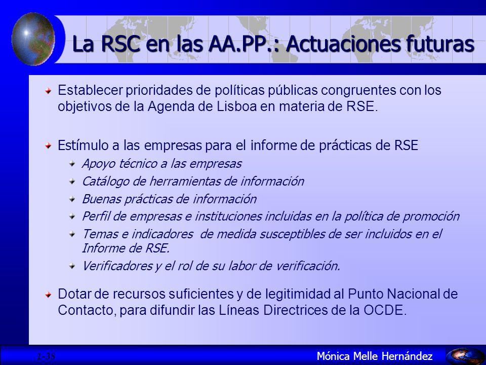 1- 38 La RSC en las AA.PP.: Actuaciones futuras Establecer prioridades de políticas públicas congruentes con los objetivos de la Agenda de Lisboa en m