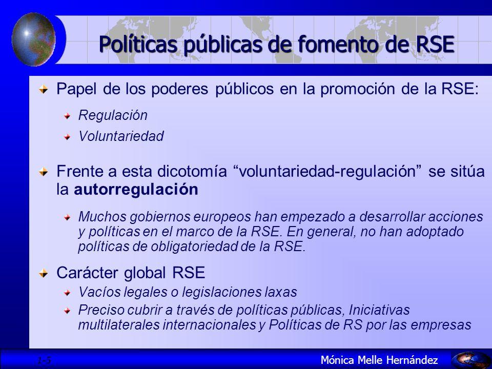 1- 6 Políticas públicas de fomento de RSE Mónica Melle Hernández Comisión Europea: la actuación pública en dos direcciones: fomentar (desde la perspectiva de las instituciones políticas) contribución (desde el mundo empresarial) Banco Mundial: Funciones del sector público