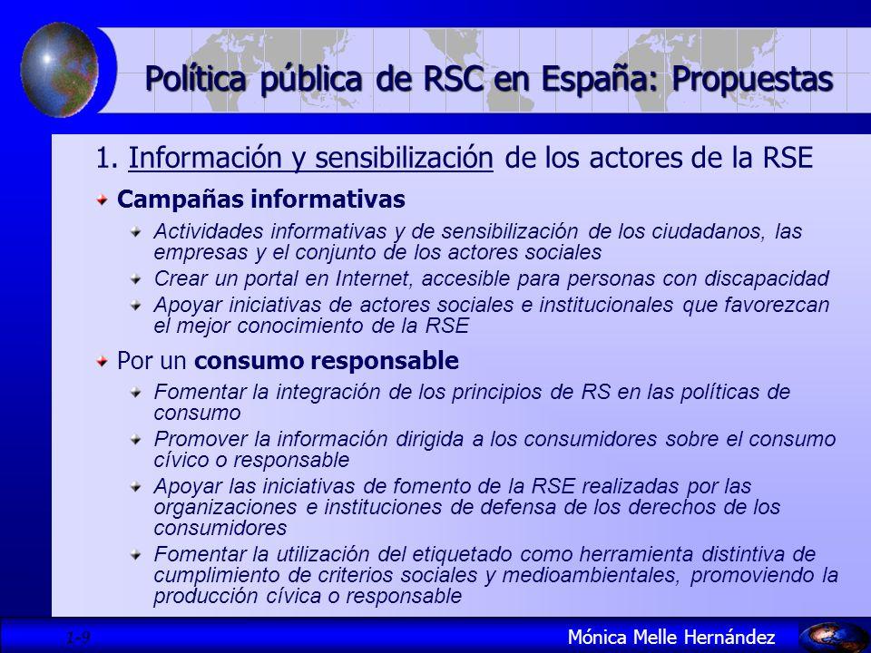1- 9 Política pública de RSC en España: Propuestas 1. Información y sensibilización de los actores de la RSE Campañas informativas Actividades informa