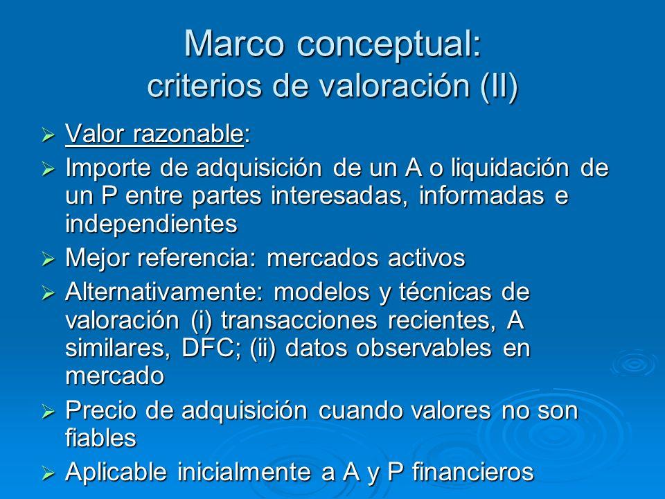 Marco conceptual: criterios de valoración (II) Valor razonable: Valor razonable: Importe de adquisición de un A o liquidación de un P entre partes int