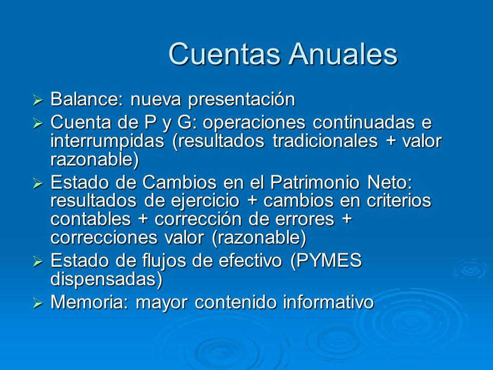 Cuentas Anuales Balance: nueva presentación Balance: nueva presentación Cuenta de P y G: operaciones continuadas e interrumpidas (resultados tradicion