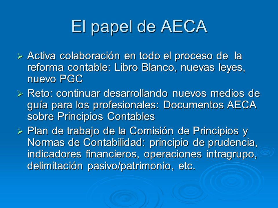 El papel de AECA Activa colaboración en todo el proceso de la reforma contable: Libro Blanco, nuevas leyes, nuevo PGC Activa colaboración en todo el p