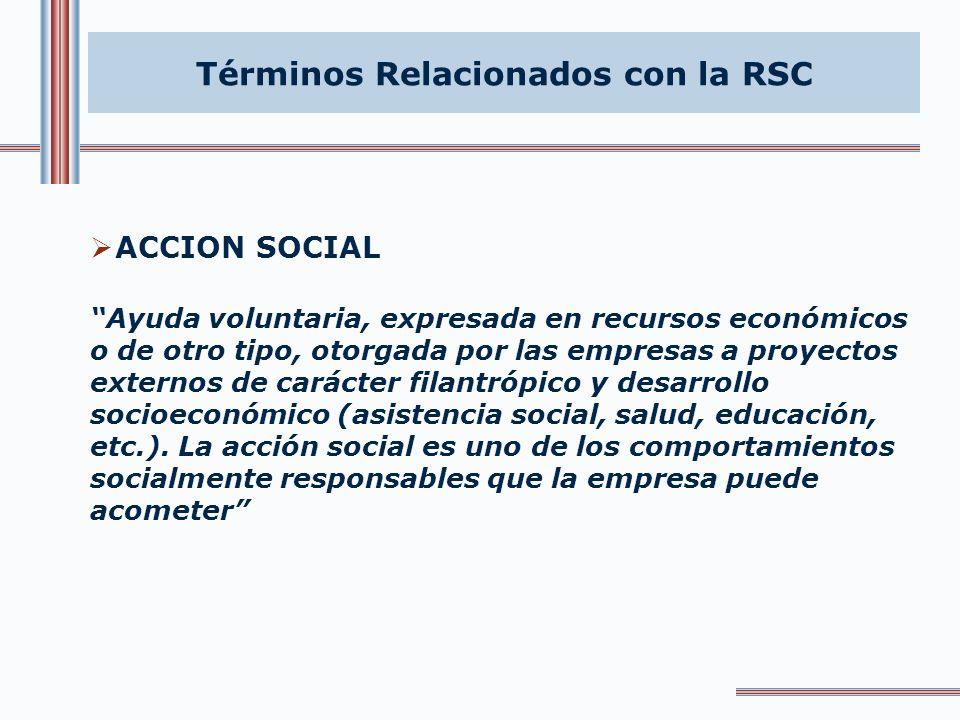 Términos Relacionados con la RSC Acción Social Auditoria Social Capital relacional-social Código de conducta Código de buen gobierno Desarrollo sosten
