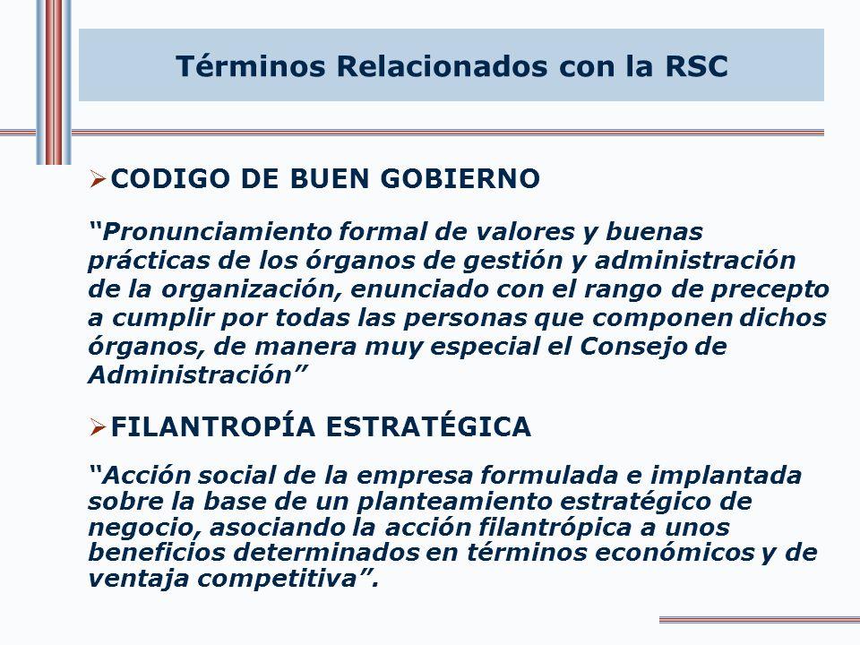 Términos Relacionados con la RSC CAPITAL RELACIONAL - SOCIAL Expresión del grado de responsabilidad e integración social de las organizaciones, medido