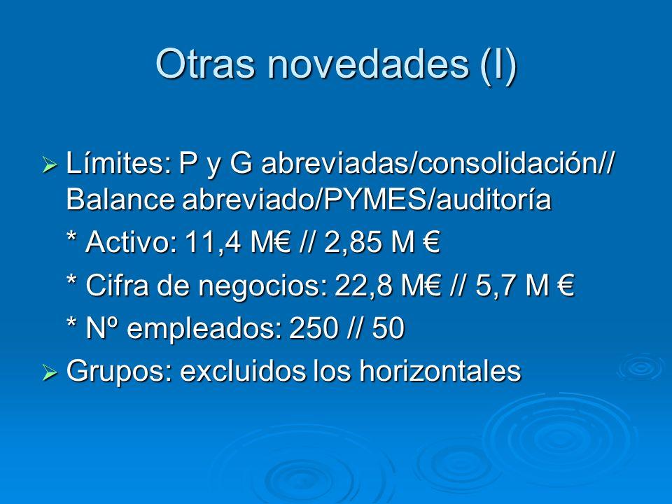 Otras novedades (I) Límites: P y G abreviadas/consolidación// Balance abreviado/PYMES/auditoría Límites: P y G abreviadas/consolidación// Balance abreviado/PYMES/auditoría * Activo: 11,4 M // 2,85 M * Activo: 11,4 M // 2,85 M * Cifra de negocios: 22,8 M // 5,7 M * Cifra de negocios: 22,8 M // 5,7 M * Nº empleados: 250 // 50 Grupos: excluidos los horizontales Grupos: excluidos los horizontales