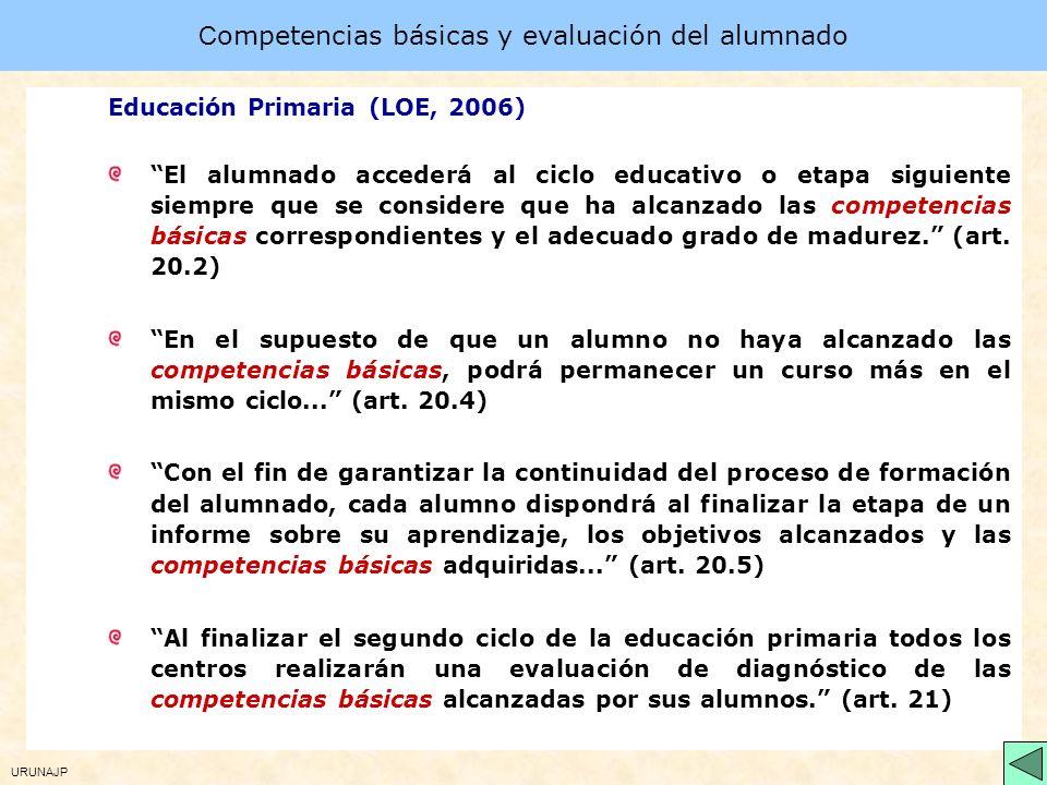 URUNAJP Las competencias básicas en la LOE (2006) Las competencias forman parte de los aspectos básicos del currículo que se establecen en las enseñan