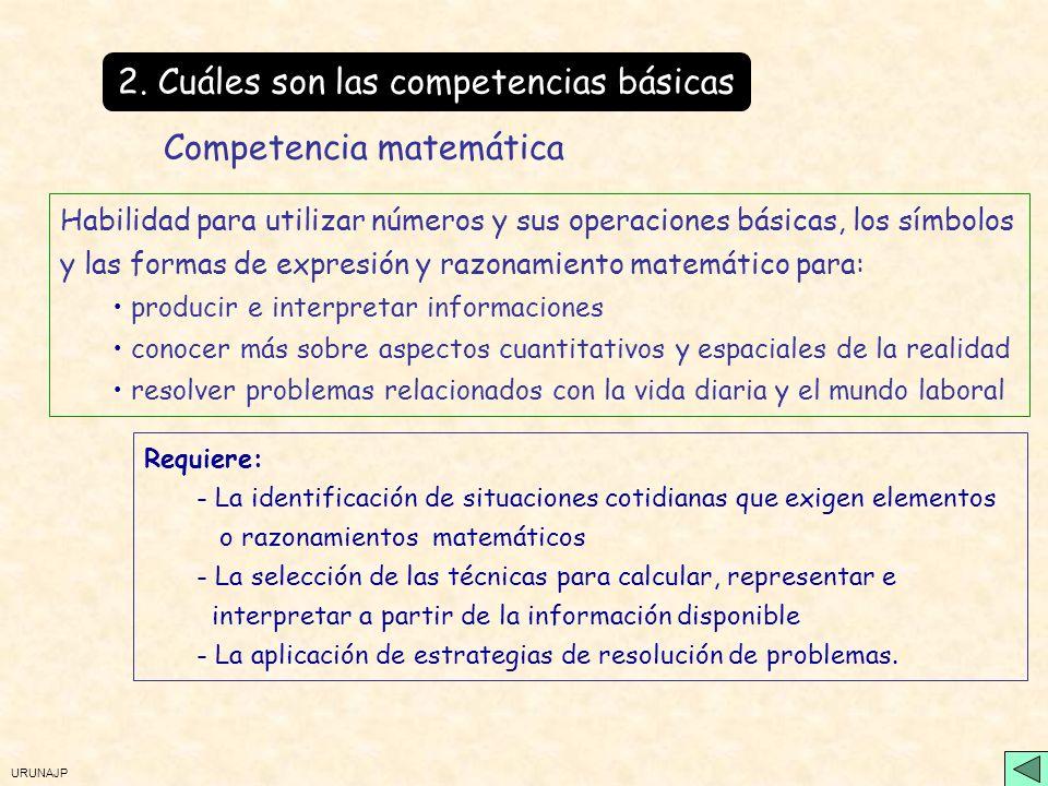 URUNAJP 2. Cuáles son las competencias básicas Utilización del lenguaje como instrumento para : la comunicación oral y escrita comprensión de la reali