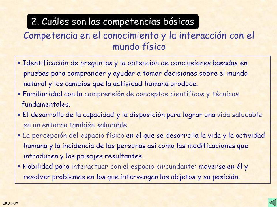URUNAJP 2. Cuáles son las competencias básicas Competencia en el conocimiento y la interacción con el mundo físico Habilidad para interactuar con el m