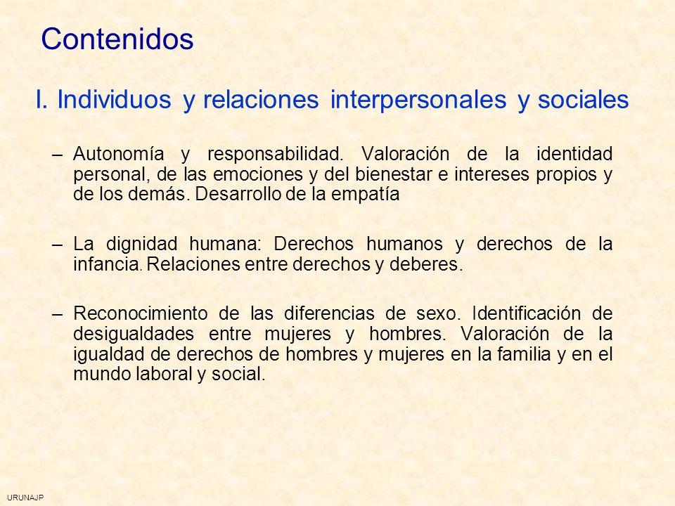 URUNAJP 3º ciclo de Primaria EpC y DDHH 3º ciclo de Primaria EpC y DDHH Individuos y relaciones personales y sociales La vida en comunidad Vivir en so