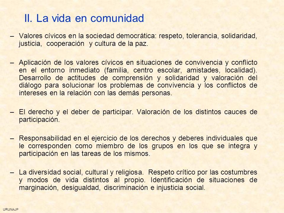 URUNAJP I. Individuos y relaciones interpersonales y sociales –Autonomía y responsabilidad. Valoración de la identidad personal, de las emociones y de