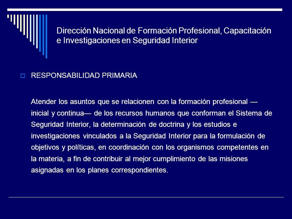 Dirección Nacional de Formación Profesional, Capacitación e Investigaciones en Seguridad Interior RESPONSABILIDAD PRIMARIA Atender los asuntos que se