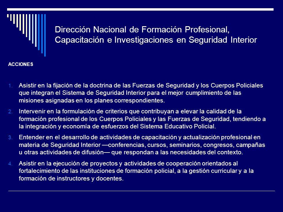 Dirección Nacional de Formación Profesional, Capacitación e Investigaciones en Seguridad Interior ACCIONES 1. Asistir en la fijación de la doctrina de