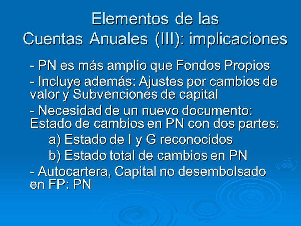 Elementos de las Cuentas Anuales (III): implicaciones - PN es más amplio que Fondos Propios - Incluye además: Ajustes por cambios de valor y Subvenciones de capital - Necesidad de un nuevo documento: Estado de cambios en PN con dos partes: a) Estado de I y G reconocidos b) Estado total de cambios en PN - Autocartera, Capital no desembolsado en FP: PN