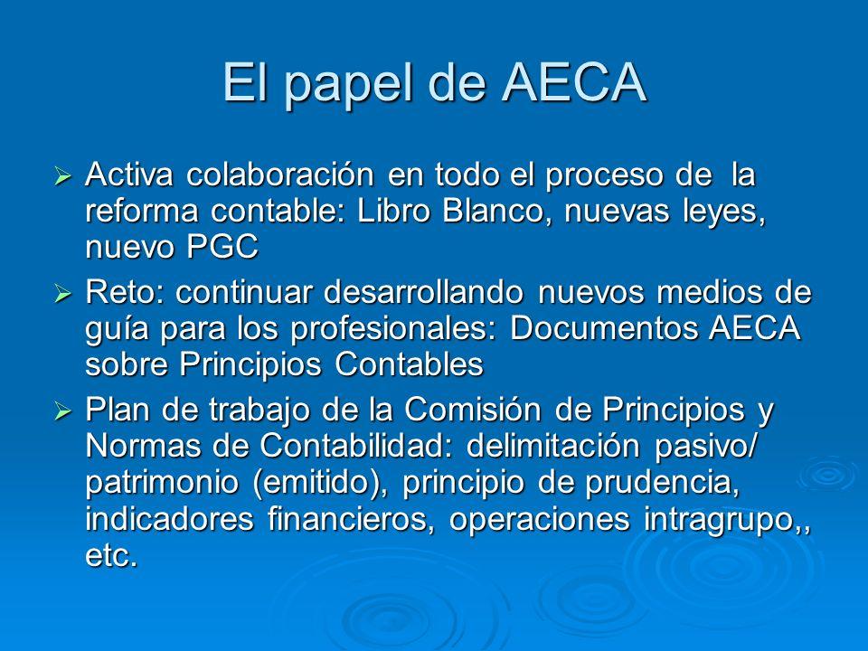 El papel de AECA Activa colaboración en todo el proceso de la reforma contable: Libro Blanco, nuevas leyes, nuevo PGC Activa colaboración en todo el proceso de la reforma contable: Libro Blanco, nuevas leyes, nuevo PGC Reto: continuar desarrollando nuevos medios de guía para los profesionales: Documentos AECA sobre Principios Contables Reto: continuar desarrollando nuevos medios de guía para los profesionales: Documentos AECA sobre Principios Contables Plan de trabajo de la Comisión de Principios y Normas de Contabilidad: delimitación pasivo/ patrimonio (emitido), principio de prudencia, indicadores financieros, operaciones intragrupo,, etc.