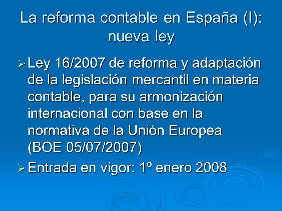 La reforma contable en España (I): nueva ley Ley 16/2007 de reforma y adaptación de la legislación mercantil en materia contable, para su armonización internacional con base en la normativa de la Unión Europea (BOE 05/07/2007) Ley 16/2007 de reforma y adaptación de la legislación mercantil en materia contable, para su armonización internacional con base en la normativa de la Unión Europea (BOE 05/07/2007) Entrada en vigor: 1º enero 2008 Entrada en vigor: 1º enero 2008