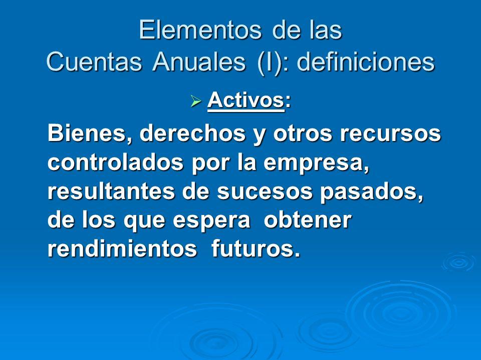 Elementos de las Cuentas Anuales (I): definiciones Activos: Activos: Bienes, derechos y otros recursos controlados por la empresa, resultantes de sucesos pasados, de los que espera obtener rendimientos futuros.