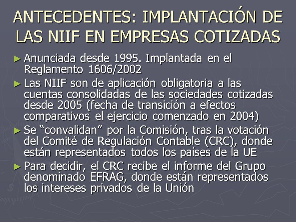 ANTECEDENTES: IMPLANTACIÓN DE LAS NIIF EN EMPRESAS COTIZADAS Anunciada desde 1995. Implantada en el Reglamento 1606/2002 Anunciada desde 1995. Implant