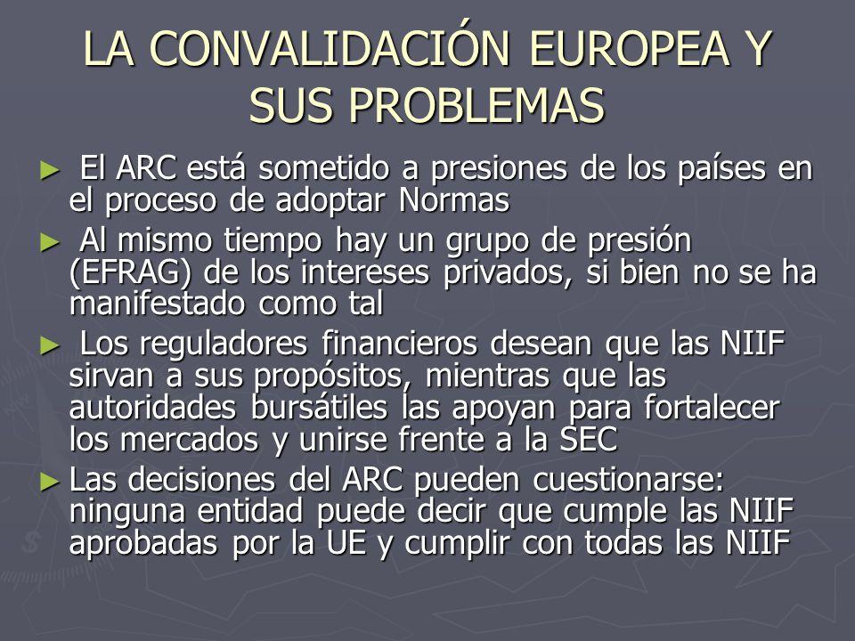 EL PROYECTO DE CONVERGENCIA (I) EC Survey on Member States Use of Options in Accounting Regulation Uso de NIIF en cuentas separadas de compañías cotizadas: Uso de NIIF en cuentas separadas de compañías cotizadas: 13 países lo permitirán: DK*, FI, DE**, IE, LU, NL, PT***, UK, NO, IS, LI, HU**, PL *obligatorio después de 2009; **también se requieren las cuentas conforme a principios nacionales; ***salvo bancos 13 países lo permitirán: DK*, FI, DE**, IE, LU, NL, PT***, UK, NO, IS, LI, HU**, PL *obligatorio después de 2009; **también se requieren las cuentas conforme a principios nacionales; ***salvo bancos 9 países lo harán obligatorio: GR, IT*, CZ, CY, EE, LT, MT, SQ, SI *excepto seguros 9 países lo harán obligatorio: GR, IT*, CZ, CY, EE, LT, MT, SQ, SI *excepto seguros 5 países lo prohibirán: AT, FR, ES, SE, LV 5 países lo prohibirán: AT, FR, ES, SE, LV 1 país no ha decidido: BE 1 país no ha decidido: BE
