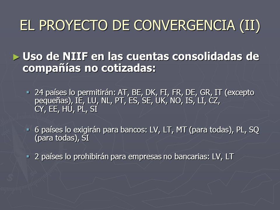 ADOPCIÓN DE LAS NIIF EN ESPAÑA En 2001 se encargó a un Grupo de Expertos la elaboración de un Libro Blanco, que recomendara al Gobierno el camino a seguir en el proceso de convergencia En 2001 se encargó a un Grupo de Expertos la elaboración de un Libro Blanco, que recomendara al Gobierno el camino a seguir en el proceso de convergencia En 2002 emitieron su informe, favorable al cambio de la normativa contable para adaptarla a las NIIF En 2002 emitieron su informe, favorable al cambio de la normativa contable para adaptarla a las NIIF El Ministerio de Economía aceptó la práctica totalidad de sus conclusiones (105), y puso los medios para comenzar el proceso de adaptación El Ministerio de Economía aceptó la práctica totalidad de sus conclusiones (105), y puso los medios para comenzar el proceso de adaptación