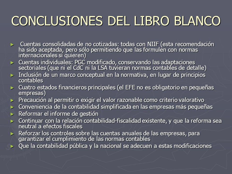 CONCLUSIONES DEL LIBRO BLANCO Cuentas consolidadas de no cotizadas: todas con NIIF (esta recomendación ha sido aceptada, pero sólo permitiendo que las