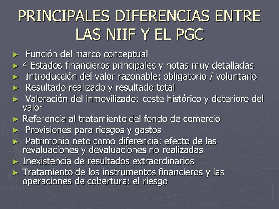 PRINCIPALES DIFERENCIAS ENTRE LAS NIIF Y EL PGC Función del marco conceptual Función del marco conceptual 4 Estados financieros principales y notas mu