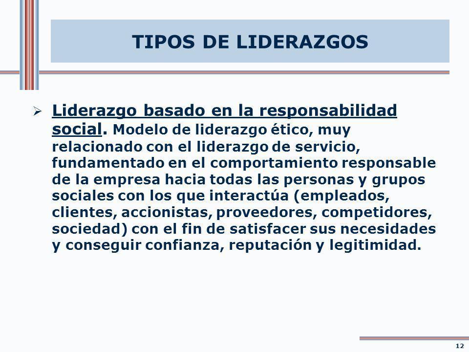 Liderazgo basado en la responsabilidad social. Modelo de liderazgo ético, muy relacionado con el liderazgo de servicio, fundamentado en el comportamie