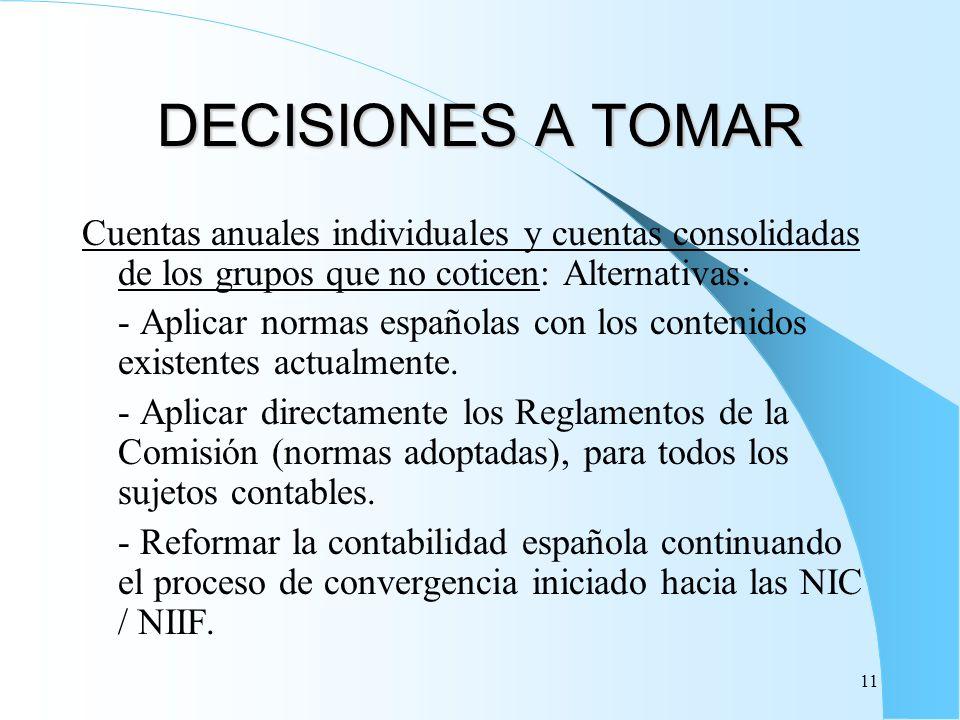 11 DECISIONES A TOMAR Cuentas anuales individuales y cuentas consolidadas de los grupos que no coticen: Alternativas: - Aplicar normas españolas con l