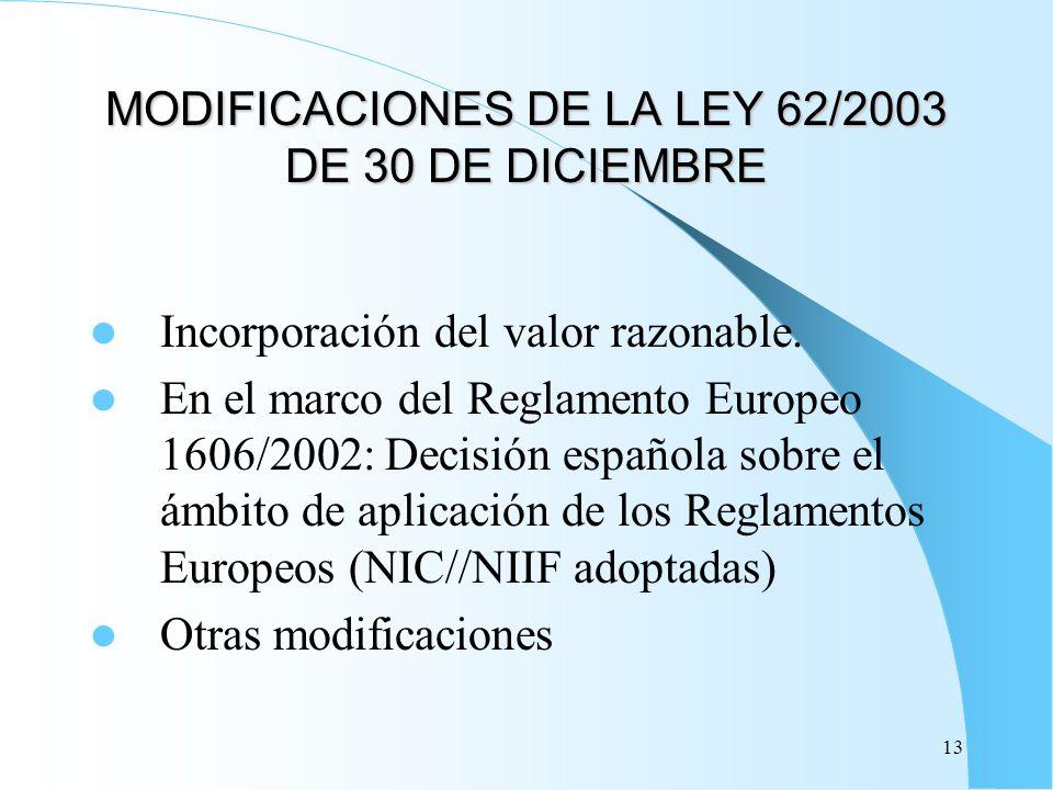 13 MODIFICACIONES DE LA LEY 62/2003 DE 30 DE DICIEMBRE Incorporación del valor razonable. En el marco del Reglamento Europeo 1606/2002: Decisión españ