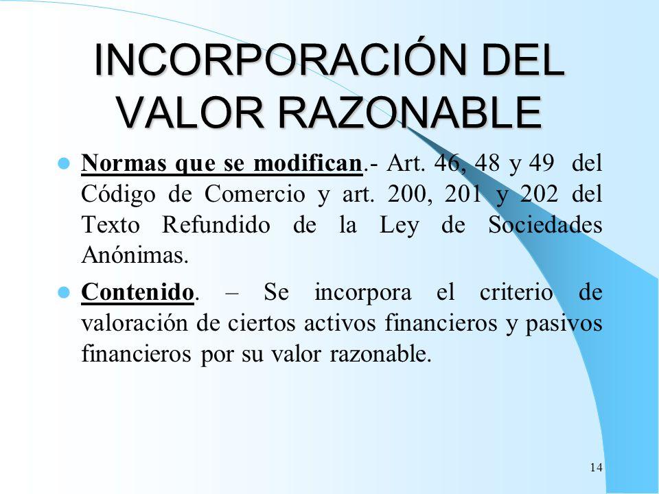 14 INCORPORACIÓN DEL VALOR RAZONABLE Normas que se modifican.- Art. 46, 48 y 49 del Código de Comercio y art. 200, 201 y 202 del Texto Refundido de la