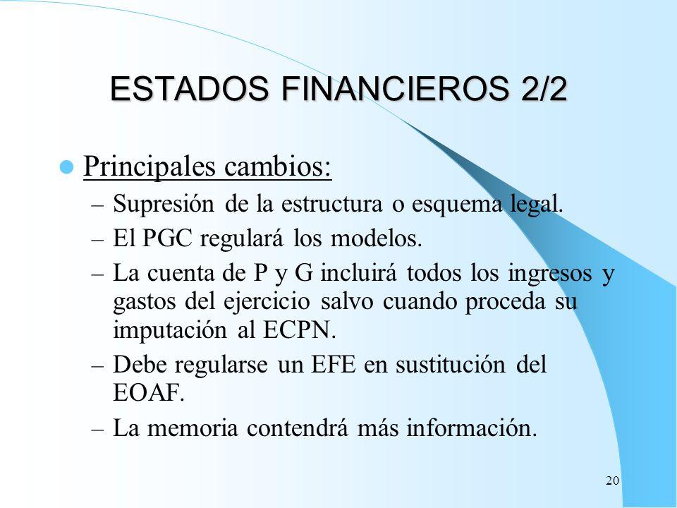 20 ESTADOS FINANCIEROS 2/2 Principales cambios: – Supresión de la estructura o esquema legal. – El PGC regulará los modelos. – La cuenta de P y G incl
