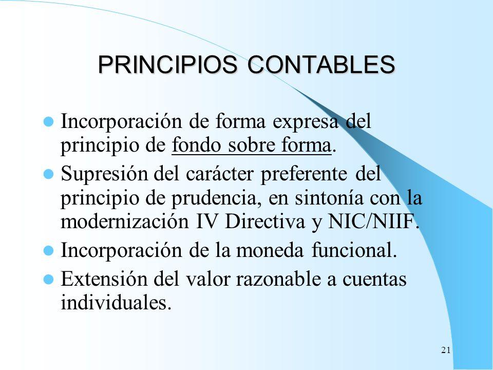 21 PRINCIPIOS CONTABLES Incorporación de forma expresa del principio de fondo sobre forma. Supresión del carácter preferente del principio de prudenci