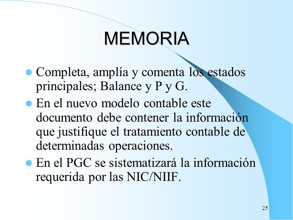 25 MEMORIA Completa, amplía y comenta los estados principales; Balance y P y G. En el nuevo modelo contable este documento debe contener la informació