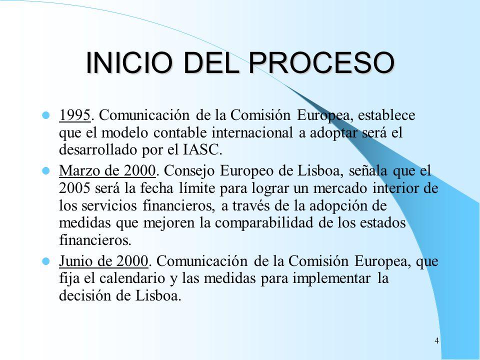 4 INICIO DEL PROCESO 1995. Comunicación de la Comisión Europea, establece que el modelo contable internacional a adoptar será el desarrollado por el I