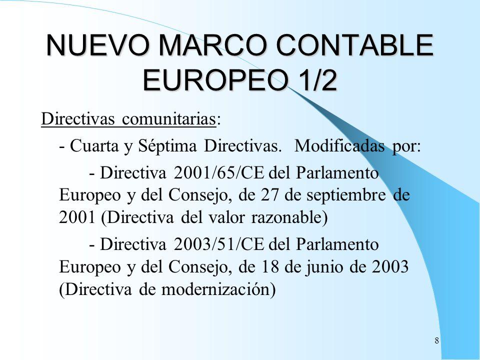 8 NUEVO MARCO CONTABLE EUROPEO 1/2 Directivas comunitarias: - Cuarta y Séptima Directivas. Modificadas por: - Directiva 2001/65/CE del Parlamento Euro