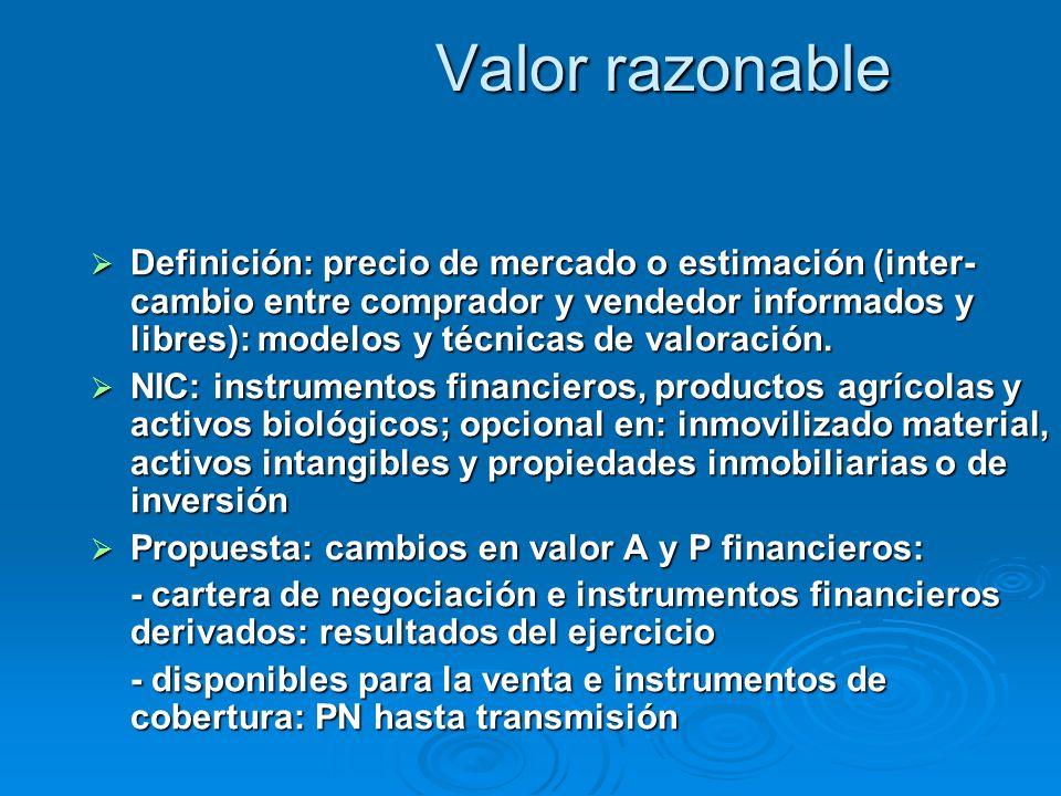 Valor razonable Definición: precio de mercado o estimación (inter- cambio entre comprador y vendedor informados y libres): modelos y técnicas de valoración.
