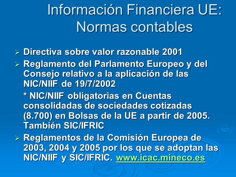 Información Financiera UE: Normas contables Directiva sobre valor razonable 2001 Directiva sobre valor razonable 2001 Reglamento del Parlamento Europeo y del Consejo relativo a la aplicación de las NIC/NIIF de 19/7/2002 Reglamento del Parlamento Europeo y del Consejo relativo a la aplicación de las NIC/NIIF de 19/7/2002 * NIC/NIIF obligatorias en Cuentas consolidadas de sociedades cotizadas (8.700) en Bolsas de la UE a partir de 2005.