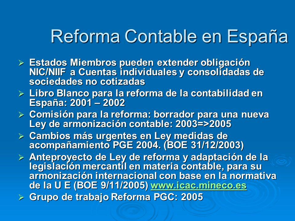 Reforma Contable en España Estados Miembros pueden extender obligación NIC/NIIF a Cuentas individuales y consolidadas de sociedades no cotizadas Estados Miembros pueden extender obligación NIC/NIIF a Cuentas individuales y consolidadas de sociedades no cotizadas Libro Blanco para la reforma de la contabilidad en España: 2001 – 2002 Libro Blanco para la reforma de la contabilidad en España: 2001 – 2002 Comisión para la reforma: borrador para una nueva Ley de armonización contable: 2003=>2005 Comisión para la reforma: borrador para una nueva Ley de armonización contable: 2003=>2005 Cambios más urgentes en Ley medidas de acompañamiento PGE 2004.