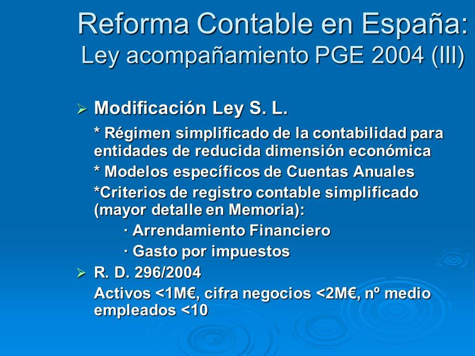 Reforma Contable en España: Ley acompañamiento PGE 2004 (III) Modificación Ley S.