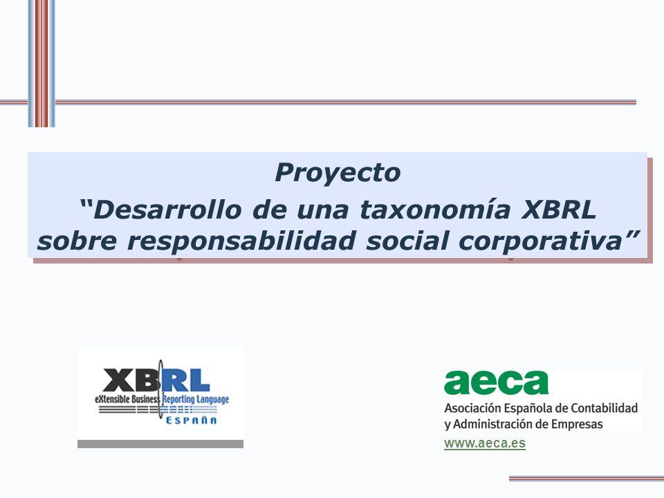 FORMACIÓN DEL GRUPO DE TRABAJO Subgrupo de trabajo en la Asociación XBRL España, por iniciativa de la Comisión de Responsabilidad Social Corporativa de AECA Composición: - AECA - Consultoras - Entidades Financieras - Universidad - Empresas de Software - Instituciones Reunión constitutiva: 20 de octubre de 2006 PROYECTO DESARROLLO DE UNA TAXONOMIA XBRL SOBRE RESPONSABILIDAD SOCIAL CORPORATIVA