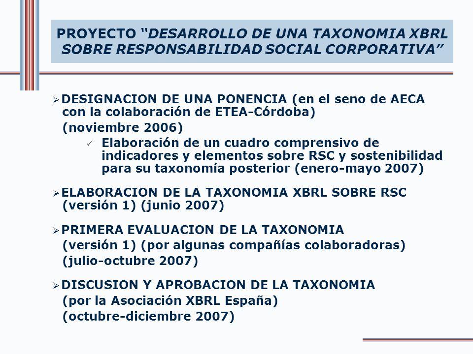 PONENCIA PARA LA ELABORACIÓN DE UN CUADRO COMPRENSIVO DE INDICADORES SOBRE RSC PARA SU TAXONOMIA XBRL PROYECTO DESARROLLO DE UNA TAXONOMIA XBRL SOBRE RESPONSABILIDAD SOCIAL CORPORATIVA - RAFAEL ARAQUE(ETEA – Córdoba) - RAMIRO CEA(Universidad Autónoma de Madrid) - JOSE LUIS LIZCANO(AECA) - Mª JOSE MONTERO(ETEA – Córdoba) - PABLO NIETO(AECA) - EDUARDO ORTA(Universidad de Zaragoza) - MERCEDES RUIZ(ETEA – Córdoba) - PILAR TIRADO(ETEA – Córdoba)