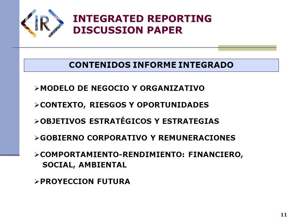 11 INTEGRATED REPORTING DISCUSSION PAPER CONTENIDOS INFORME INTEGRADO MODELO DE NEGOCIO Y ORGANIZATIVO CONTEXTO, RIESGOS Y OPORTUNIDADES OBJETIVOS EST