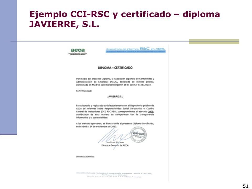 51 Ejemplo CCI-RSC y certificado – diploma JAVIERRE, S.L.