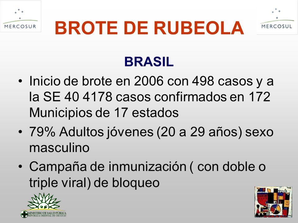 BROTE DE RUBEOLA BRASIL Inicio de brote en 2006 con 498 casos y a la SE 40 4178 casos confirmados en 172 Municipios de 17 estados 79% Adultos jóvenes