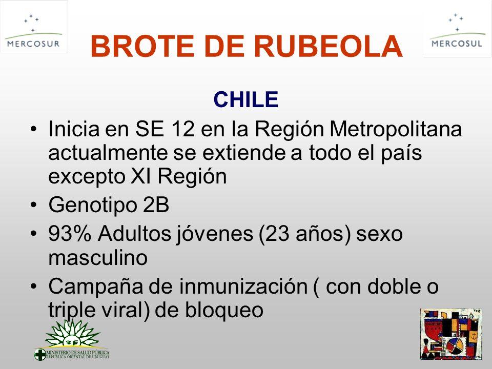 BROTE DE RUBEOLA CHILE Inicia en SE 12 en la Región Metropolitana actualmente se extiende a todo el país excepto XI Región Genotipo 2B 93% Adultos jóv