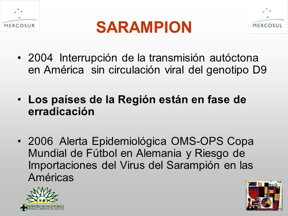 SARAMPION 2004 Interrupción de la transmisión autóctona en América sin circulación viral del genotipo D9 Los países de la Región están en fase de erra