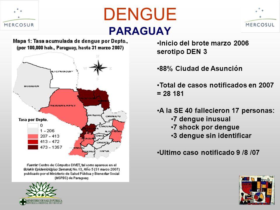DENGUE PARAGUAY Inicio del brote marzo 2006 serotipo DEN 3 88% Ciudad de Asunción Total de casos notificados en 2007 = 28 181 A la SE 40 fallecieron 1