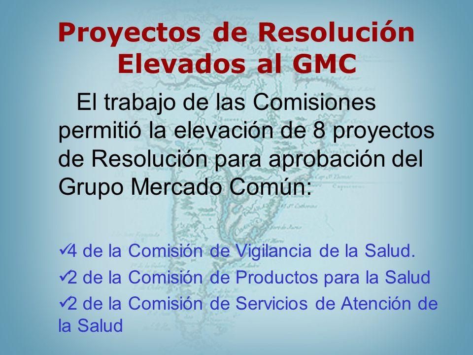 Proyectos de Resolución Elevados al GMC El trabajo de las Comisiones permitió la elevación de 8 proyectos de Resolución para aprobación del Grupo Merc