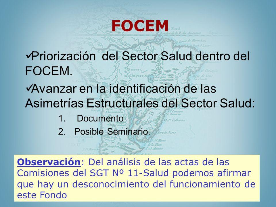 FOCEM Priorización del Sector Salud dentro del FOCEM. Avanzar en la identificación de las Asimetrías Estructurales del Sector Salud: 1. Documento 2.Po